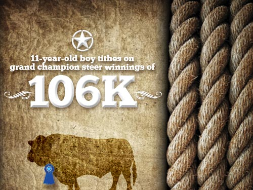 11-year-old boy tithes on grant champion steer winnings of 106K