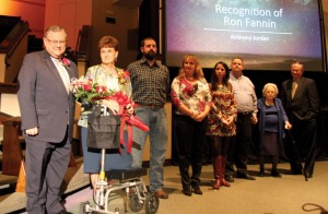 Ron Fannin is pictured with his wife, Jamie, and other family members. Fannin was honored for his service during the Monday evening's session.