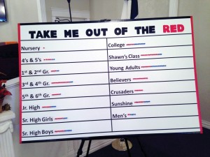 Take Me Out of the Red campaign board reflects the impact the revival week had on Sunday School classes