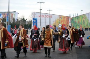 Groups wearing traditional clothing provided entertainment in the Olympic Park in Adler.