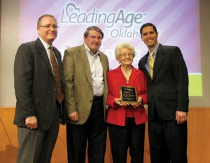 From left, Steve Thomas, BVC vice president of operations , Bill Pierce, BVC president, Norma Whitaker, Nathan Purifoy, campus director of BV of Owasso.