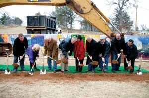 Anthony and Polla Jordan, third and fourth from left, participate in the ground breaking with building committee members, including Gene Downing, third from right, who gave a $2.3 million matching gift toward the Falls Creek Centennial Campaign.