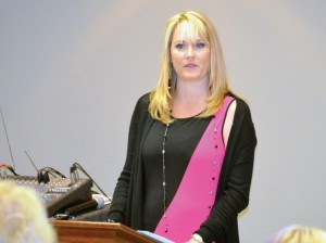 """Phipps' wife, Charity speaks on being """"Rooted in Relationships"""" during the women's luncheon."""
