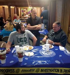 From left, Darrell Ring, youth minister at Enid, Calvary, Brian Frable, pastor of Ringwood, First and Steve Williams, pastor of  Enid, Calvary, visit during lunch.