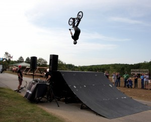 BMX/stunt bikers performed Friday afternoon.