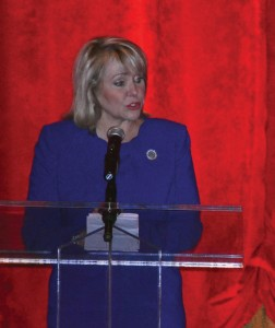 Gov. Mary Fallin speaks at the May 13 movie premiere event of 'Where Was God?' at the Moore Warren Theatre.
