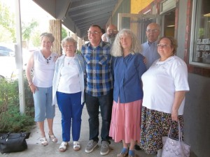 Jones also met the Blue Star Mothers, including, from left, Sue Hill, Bev Moran, Gerald and Diane Carkhuff and Dave and Debbie Laukat.