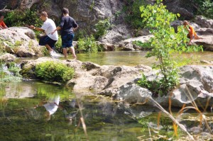 In addition to the new zip line, students enjoy historic sites like Boulder Springs.