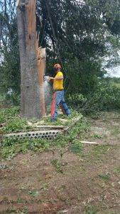 A trained volunteer with BGCO Disaster Relief works a chainsaw during relief efforts near Boswell. (Photo: Provided)