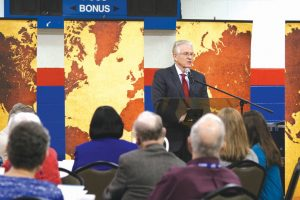 Anthony L. Jordan addresses missionaries at the Oklahoma Missionary Fellowship Monday evening of Annual Meeting